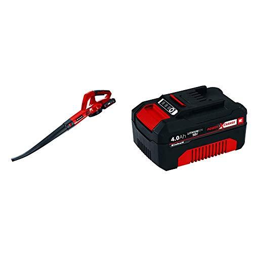Einhell GE-CL 18 Li E - Soplador de Hojas con tecnología Power X-Change, 18 V, 12000 RPM + 4511396 Power X-Change - Batería de Repuesto, 18 V, 4.0 Ah, duración de Carga de 60 Minutos