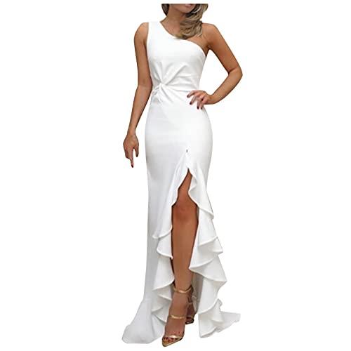 SERYU Women Fashion Shining Sequins Strap Sleeveless Slim Fork-Opening Evening Dress