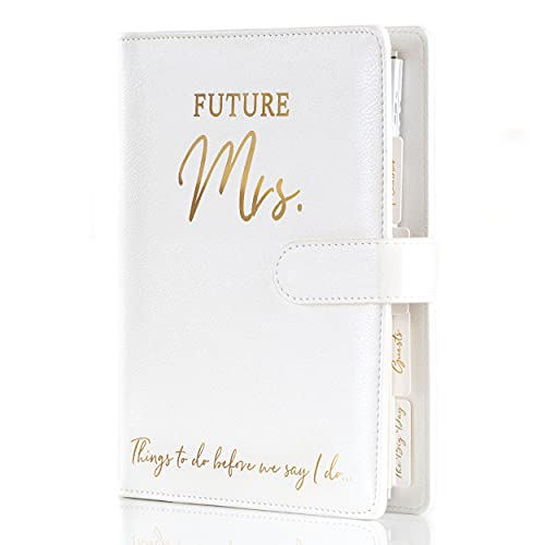 Wedding Planner Book and Organizer for The Bride -Faux Leather  Gold foil Stamped  Future Mrs  Wedding Binder I Bride to Be Gifts for Her I Engagement Gifts for Women I Wedding Planning Book Checklist