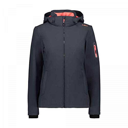 CMP Giacca Softshell Antivento E Impermeabile WP 7.000, Donna, Antracite-Red Fluo, 40, Antracite-Red Fluo