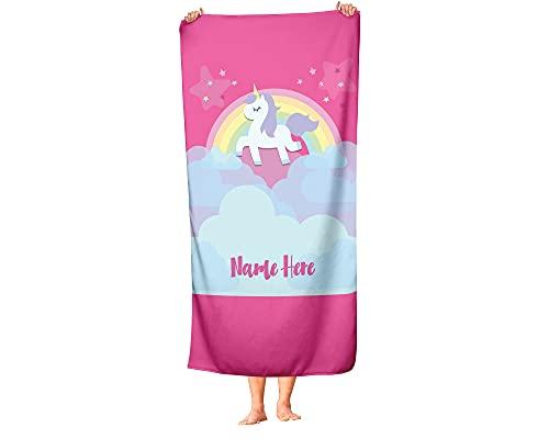 "Personalized Unicorn Rainbow Cloud Polycotton Towel for Kids - Custom Girls Unicorn Theme Towels for The Swim Beach Bath Bathroom or Kitchen - Baby Adults Kid Boys Girl (Beach Towel 70""x35"")"