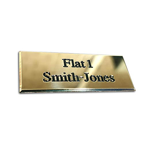 Rectangular solid brass engraved nameplate, Small 50mm x 20mm. Personalised engraved memorial plaque