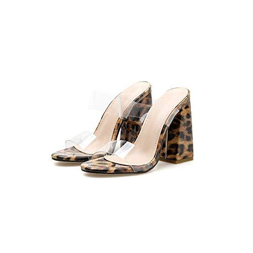 YFYBF Piel de Leopardo Grueso tacón Sandalias Atractivas claros Zapatos Transparente Deslizamiento de la...