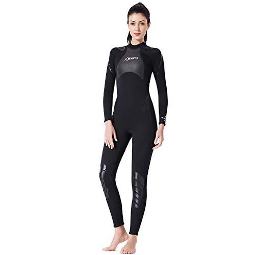 MOTOCO Damen Ganzkörperansicht Badeanzug Overall Wetsuit Surfanzug Lange Ärmel Tauchanzug - Strand Watersport UV Schutz Schwimmanzug (L,Schwarz)