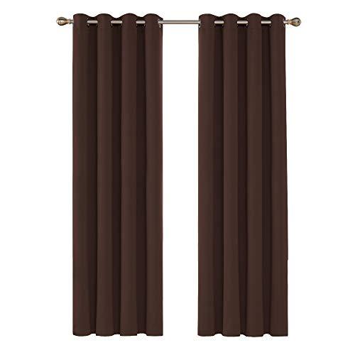 Deconovo Tende Oscuranti Termiche Isolanti Lunghe Moderne con Occhielli per Camera da Letto 140x280cm 2 Pannelli Cioccolato