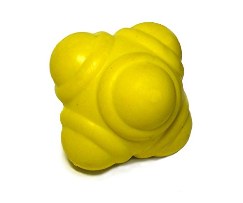 STOP! Fitness - SAQ und Reaktionsball für die Entwicklung von Schnellkraft und Reaktionsschnelligkeit - Durchmesser 7 cm - Inklusive Anleitung mit Übungsbeispielen (Gelb)
