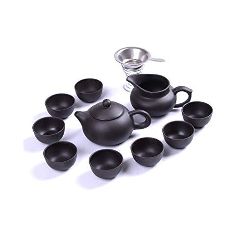 WYZQ Juego de té de Kung Fu, Tetera Yixing, Juego de Taza de Tetera de Arcilla púrpura Hecha a Mano, Regalo de Ceremonia de té Chino de cerámica Zisha, 03, vajilla