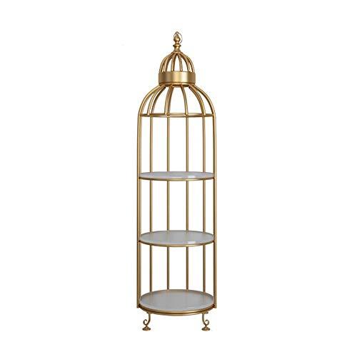 Aszhdfihas-home Stand per Fiori in Vaso Forma di Gabbia per Uccelli con piedistallo in Acciaio Stabile a 3 Livelli Dentro Fuori (Colore : Golden, Dimensione : 40 * 40 * 142cm)