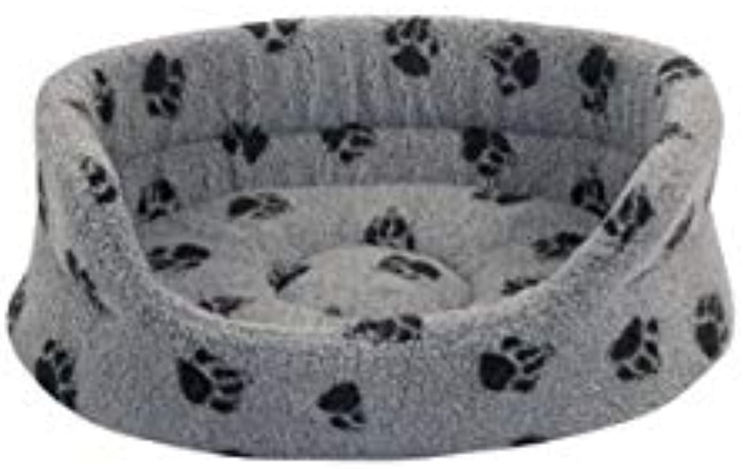 Classic Paw Pattern Oval Shaped Bolster Cushion For Pets (Material  Fleece) (89cm (35 ), Grey)