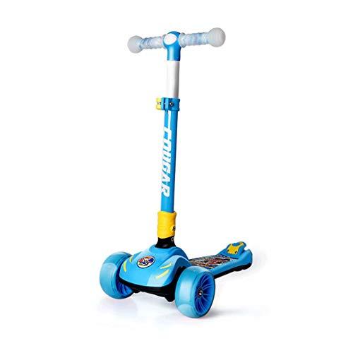YLJJ Scooter de Tres Ruedas para bebés de 3 a 6 años, 3 Ruedas Scooter de Altura Ajustable, Plegable, sin Montar, Suave, con Rueda de PU Intermitente, Azul
