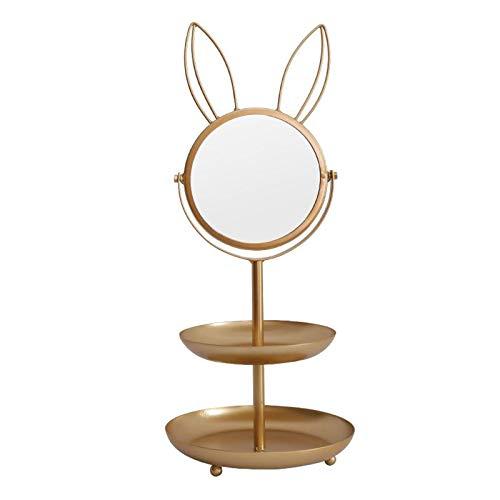 Fenteer Bijoux Arbre Stand de Table de Maquillage Miroir Lapin Bijoux Titulaire D'affichage Organisateur Rack avec Plat Plateau pour Collier Bracelet Boucles - 2-niveau