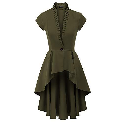SCARLET DARKNESS Donna Cappotto Vintage Elegante a Maniche Corte Maglia Orlo Irregolare Verde 2XL SL93-3