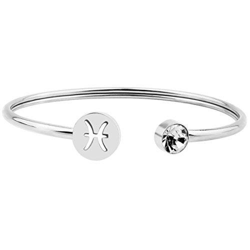 Zuo Bao Simple Zodiac Sign Cuff Bracelet with Birthstone Birthday Gift for Women Girls (Pisces)