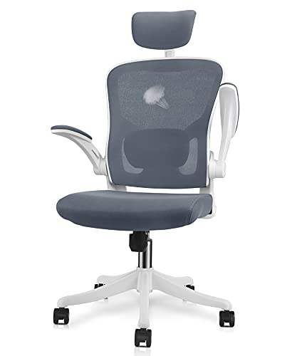 VANSPACE Ergonomic Office Chair High Back Mesh Chair with Lumbar Support and Flip-up Armrest, Swivel Computer Task Chair Home Office Desk Chair with Tilt Function and Adjustable Headrest, DC06 White