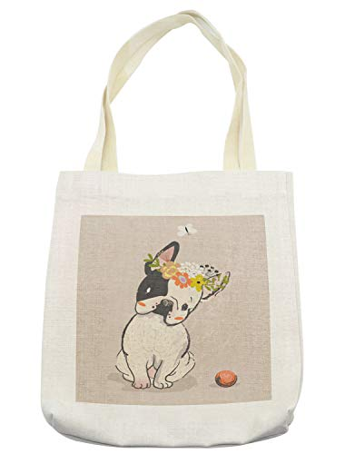 Lunarable Dog Tote Bag, Hand Drawn French Bulldog with Wreath on Its Head Watercolor Domestic Pet Illustration, Cloth Linen Reusable Bag for Shopping Books Beach and More, 16.5' X 14', Cream