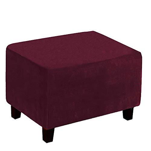 Maalr Funda elástica para puf, rectangular, de terciopelo suave, elástica, funda para puf, lavable, cubrereposapiés para salón (vino rojo)