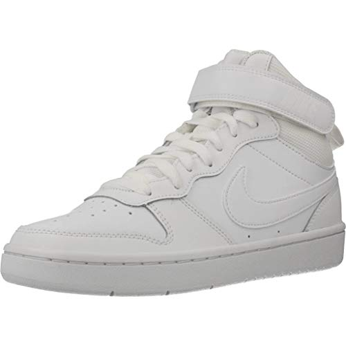 Nike Unisex-Child Court Borough MID 2 (GS) Sneaker, White/White-White, 38 EU
