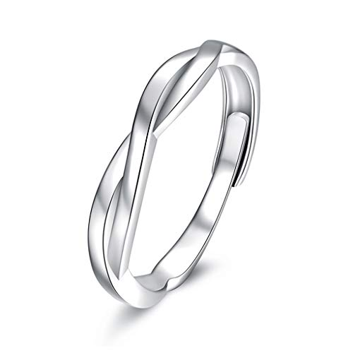 GULICX Men 925 Sterling Silver Ring Cross Love Knot Eternity Engagement Promise Adjustable Rings Anniversary Wedding Band Ring for Valentine's Day Gifts Jewellery