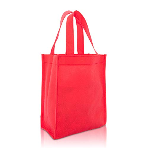 DALIX 10' Mini Shopping Totes Small Resuseable Bags for Women and Children in Red-10 PACK