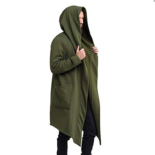 Vintage Men Hoodies Jacket Cardigan Coat Casual Hip Hop Jacket Hooded Outwear Green
