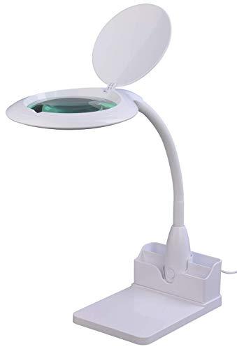 Preisvergleich Produktbild Komerci KML-9101LED-BRP LED Tisch-Lupenleuchte Lupenlampe 5 Dioptrien 125mm Glaslinse 14W mit Dimmer Lesehilfe [Energieklasse A+]