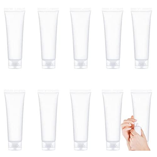 Tubos de plástico vacíos Recargables Tubos de loción cosmética Botellas Crema de Manos Transparente en Botellas Botellas de Viaje para desinfectante Manos 60ml(10 Piezas)