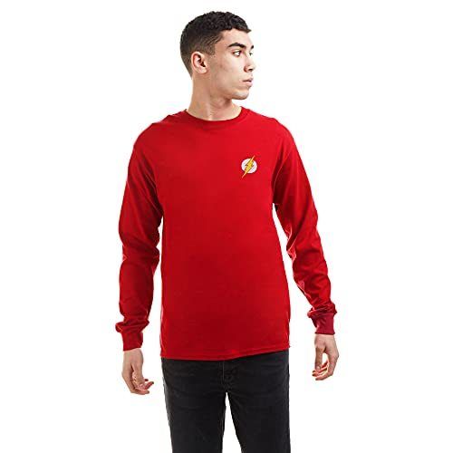 DC Comics Flash Core Long Sleeve tee Camiseta, Rojo Cereza, L para Hombre