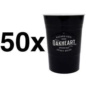 Bacardi Oakheart Rum Kunststoff Cocktail Longdrink Becher schwarz - 50er Set