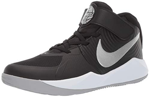 Nike Unisex-Kinder Team Hustle D 9 (ps) Basketballschuhe, Mehrfarbig (Black/Metallic Silver/Wolf Grey/White 000), 35 EU