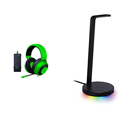 Razer Kraken Tournament Edition THX 7.1 Surround Sound Gaming Headset + Base Station V2 Chroma Bundle: Green