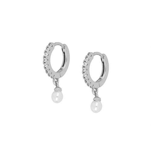GoodLuck Pendientes de Gota de Perlas de Plata de Ley 925 para Mujer Pendientes de joyería de Cristal de circón Redondo de aro