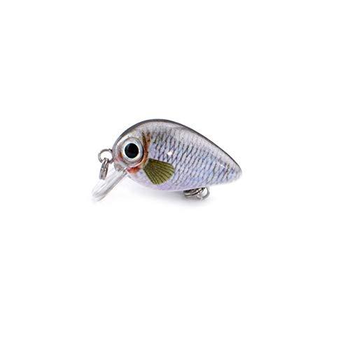 L-MEIQUN, 1 Unids/Pack 1.8g 3 cm Topwater 0.1-0.5m Wobbler Japan Mini Crankbait 1Baits con Caja de plástico Pesca con Mosca Señuelo Crazy Wobbler (Color : G)