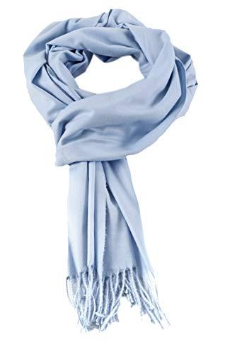 AMINA Einfarbiger Luxus Pashmina Damen Schal mit Cashmerefeeling superweich (Hellblau)