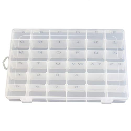 Plastic Organizer Container Box Letter Storage Case Adjustable Dividers 36 compartments for Letter Board Letters with Stickers Pre Applied to Dividers (Letter Labels PRE Applied)