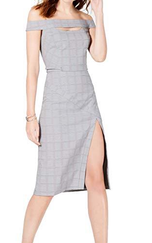 XOXO Women's Plaid Off The Shoulder Cut Out Cocktail Dress Gray Size L