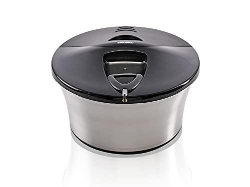 Leifheit Salatschleuder ProLine-Serie, Edelstahl (5,5 L) im formschönen Design, Salattrockner mit Anti-Rutsch-Boden, Salatschüssel für schonendes Schleudern