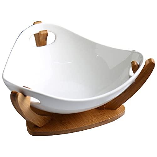 ZAIZAI Cuenco de cerámica para Frutas, ensaladera, vajilla para el hogar, Cuenco de Almacenamiento de Aperitivos de Gran Capacidad, Soporte de Madera de bambú Natural