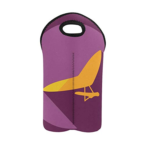 Wiederverwendbarer Weinbeutel Flying Hang Glider Silhouette Flasche Geschenkbeutel Doppelflaschenträger Weinbeutel für Reisen Dicker Neopren-Weinflaschenhalter hält Flaschen geschü