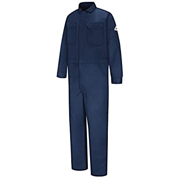 Bulwark FR mens Flame Resistant 9 Oz Twill Cotton Deluxe With Concealed Snap Cuff Work Utility Coveralls Navy 50 US
