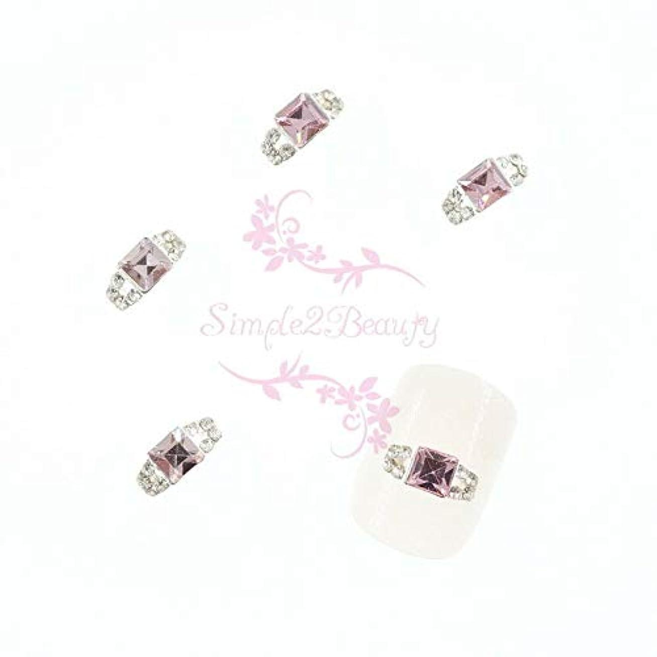 甲虫興奮基本的なFidgetGear 20クリスタルラインストーンの装飾3Dリングスタイルシルバーメッキ合金チャームネイルアート ピンク