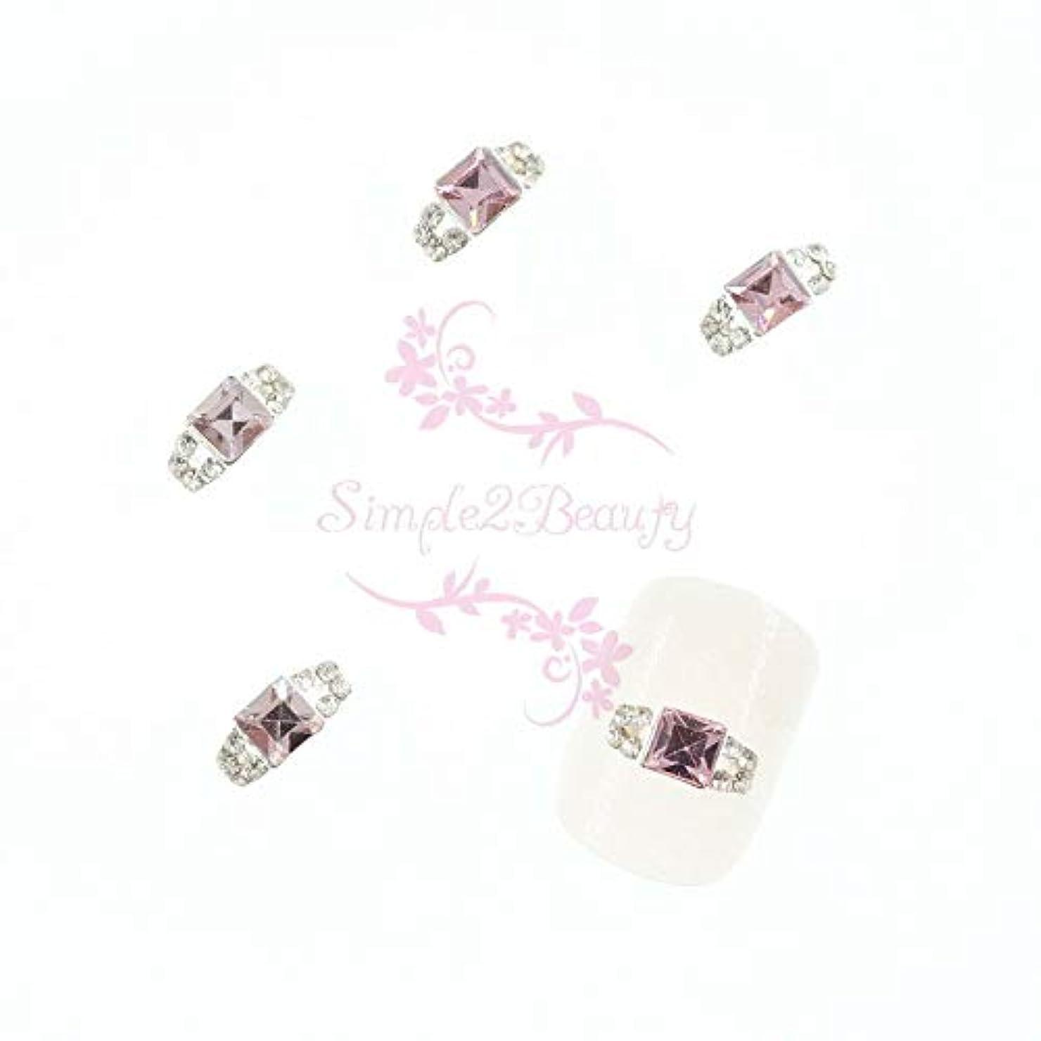 雑草略す絶対のFidgetGear 20クリスタルラインストーンの装飾3Dリングスタイルシルバーメッキ合金チャームネイルアート ピンク