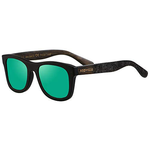 Bamboo Sunglasses Floating for Men Women Wood Sunglass Wooden Frame Polarized Vintage Black Blue Brown ANDWOOD