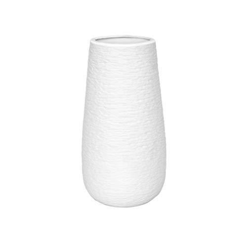 10 Inch Modern White Ceramic Vase, Oval-Shaped, Textured Flower Vase with Design...