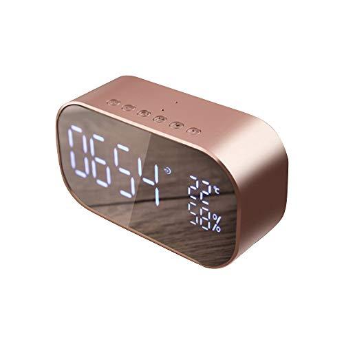 HIGGER Reloj Despertador Digital LED Despertador con Radio FM inalámbrico Altavoz Bluetooth Soporte AUX TF USB Reproductor de Música Inalámbrico para Oficina Dormitorio