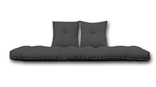 Futon On Line Futón de Algodón con Dos Cojines, Color Negro, 80x200x13 cm