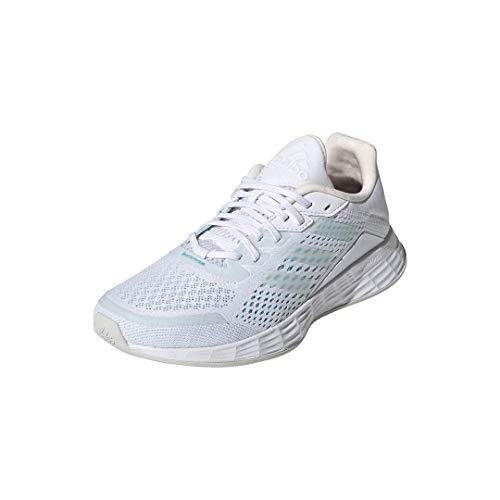 adidas Women's Duramo SL Running Shoe, White/White/Pink Tint, 9