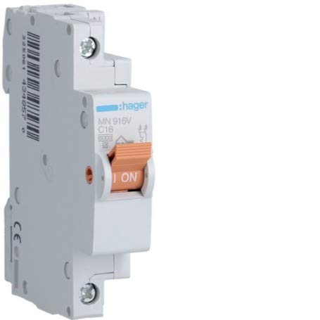 Interruptor magnetotermico para vivienda Hager MN916V 1P+N 16A CURVA-C 1 modulo