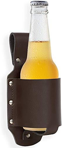 JIUJ bier lederen holster, bier Holster houder voor standaard bier flessen en blikken 2 Pack
