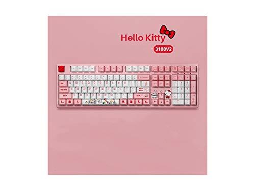 CORN 108 Pink Full-Standard Hello Kitty Keyboard Limited Version Real Mechanical Gaming Keyboard, PBT Keycaps (108 Keys PinkSW, Hello Kitty)