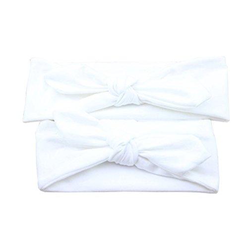 frcolor Mutter und Baby Stirnband Kleinkind Mädchen Headwrap Knoten Haarband Haar Schleife Set (weiß)